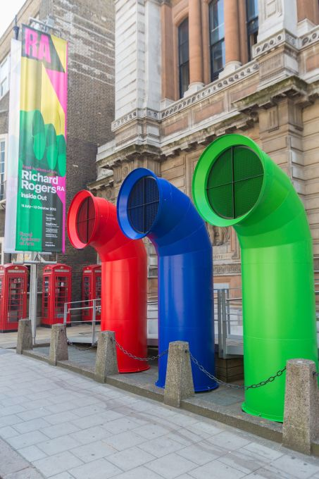 Inside Out, Richard Rogers' new show at London′s Royal Academy, opens a new series of major architecture shows at the RA's new back-of-house venue Burlington Gardens. (All photos: Benedict Johnson/Royal Academy)