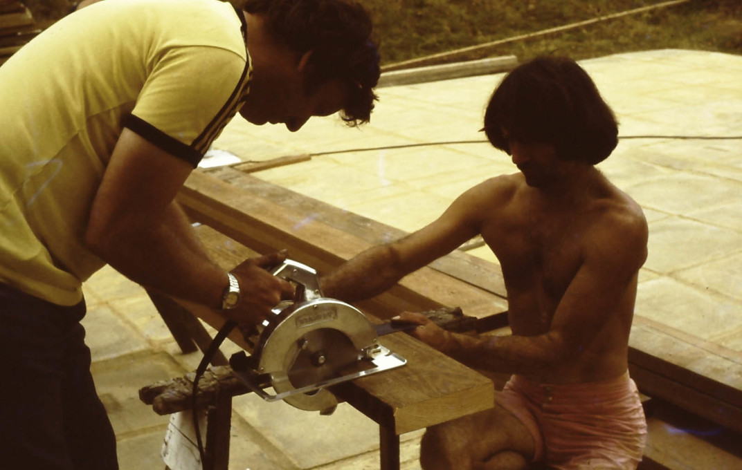 On site cutting of timbers. c1970s. (Photo courtesy Jon Broome)