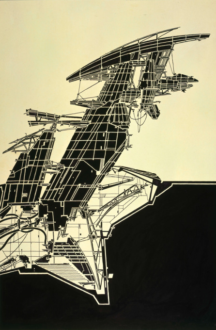 "Lebbeus Woods, ""Aerial Paris"", 1989, copic marker on tracing paper on board."
