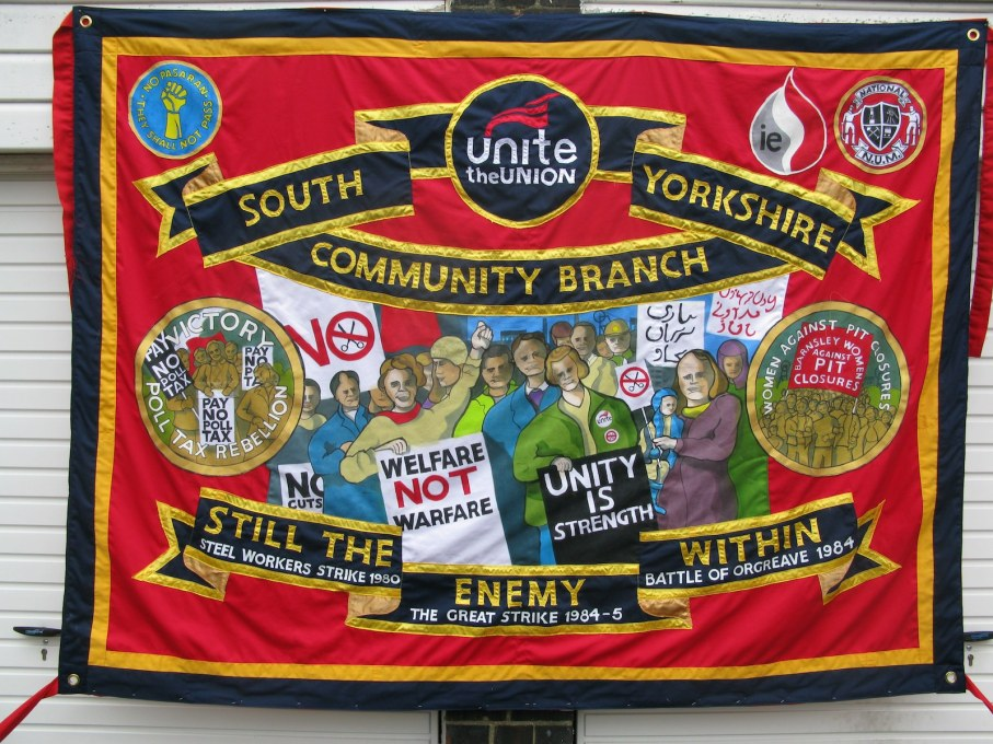 "Banner made by Ed Hall for ""UNITE""' which was the biggest march in North West England against the privatisation of the English National Health Service (NHS). (Photo courtesy Ed Hall)"