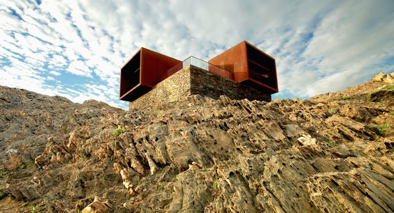 "The ""Rothko Cubes"" viewpoint structure constructed by EMF and Ardèvol at Cabo de Creus in Spain from part of the remains of the Club Med holiday village. (Photo: © Pau Ardèvol, courtesy EMF)"