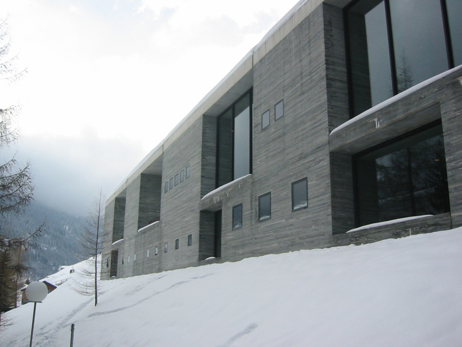 The façade of Zumthor's spa and baths building. (Photo courtesy www.archdaily.com)