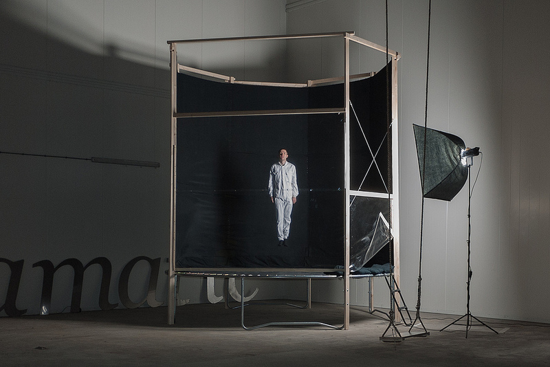 "Pohflepp's space speculations went antigravity in this project called ""Camera Futura"" for a show at Mediamatic Fabriek in Amsterdam (2012), where a moment of trampoline-induced weightlessness was captured on camera."