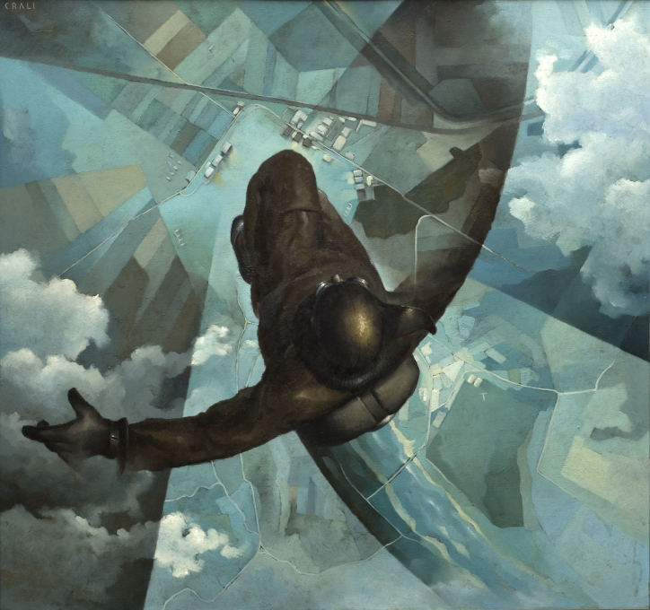 "Tullio Crali, ""Before the Parachute Opens"", 1939, references the aesthetics of warfare. (Photo: Claudio Marcon)"