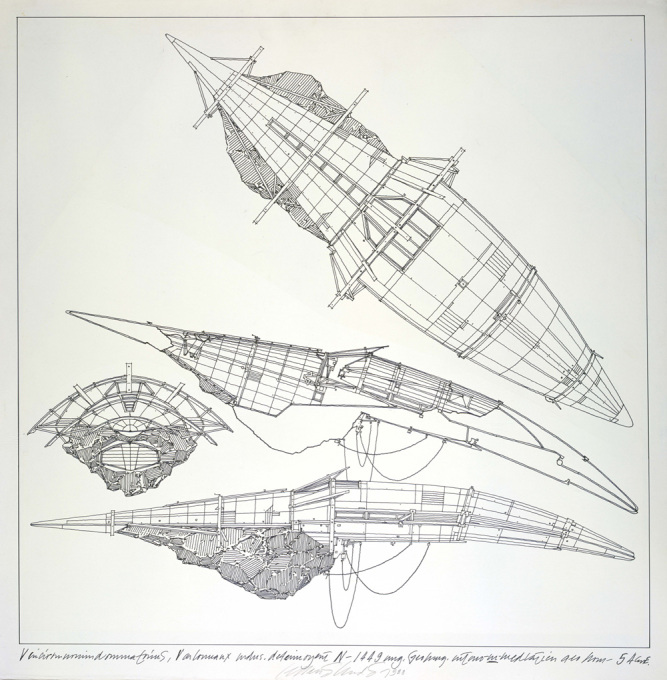 "Lebbeus Woods, ""Geomagnetic Flying Machines"", 1988, ink on tracing paper on board."