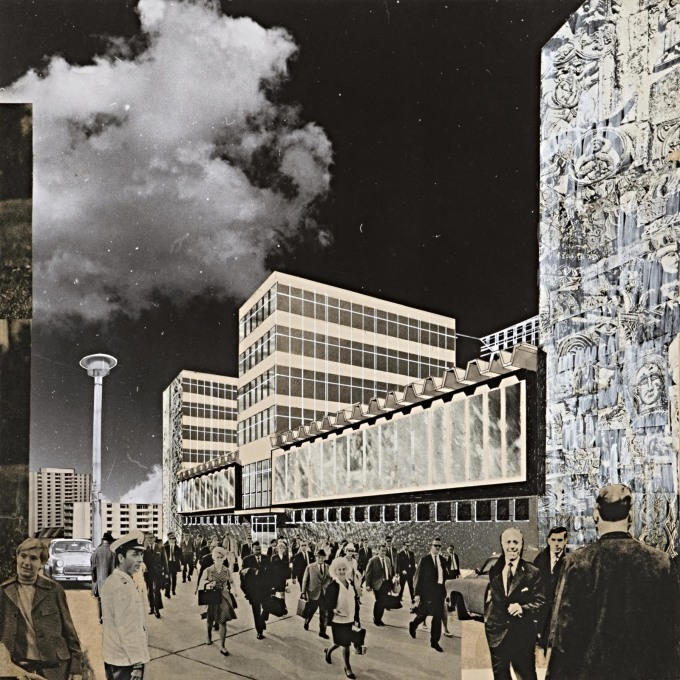 "Proposed office building for ""Allgemeiner Deutscher Nachrichtendienst"" (the GDR state news agency) at Mollstrasse in Berlin, c.1968."