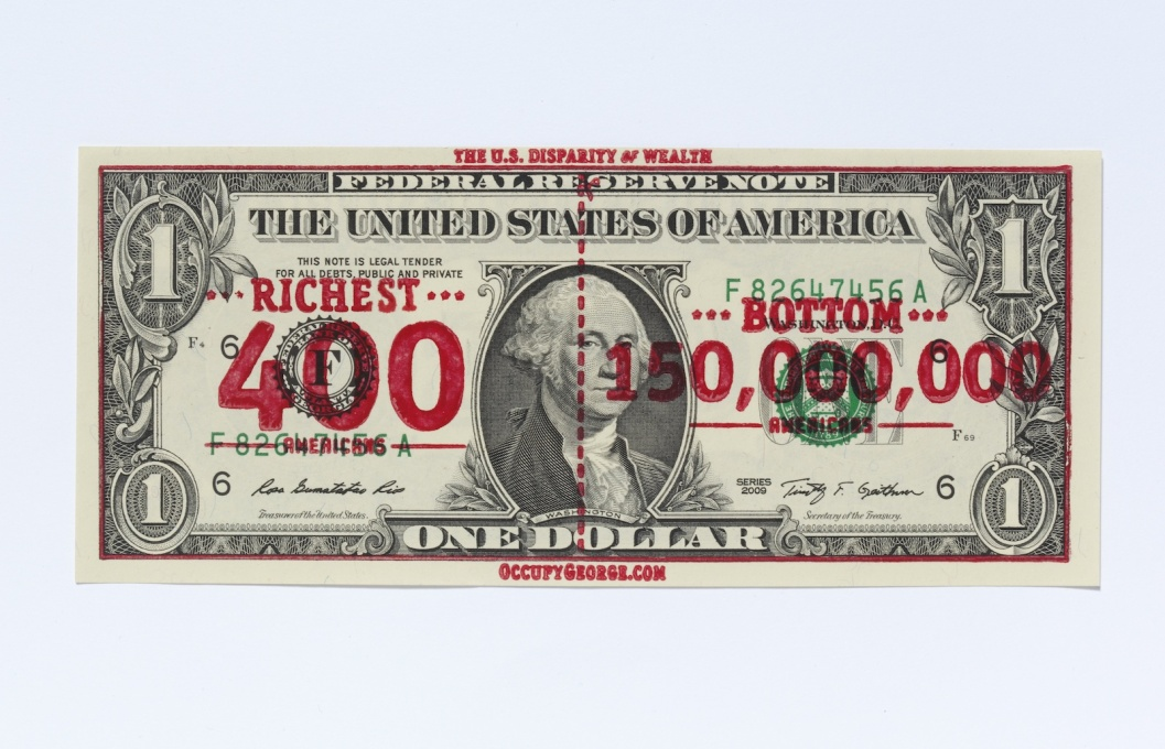 """Occupy George"" overprinted dollar bill, a symbol of the unfair distribution of wealth. (Photo courtesy Andy Dao and Ivan Cash)"