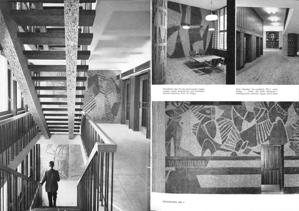 "Spread in the Byggekunst – ""Building Art"" – magazine of the interior sand-blasted murals of the ""H-Block"" government building. (Photo: National Museum)"
