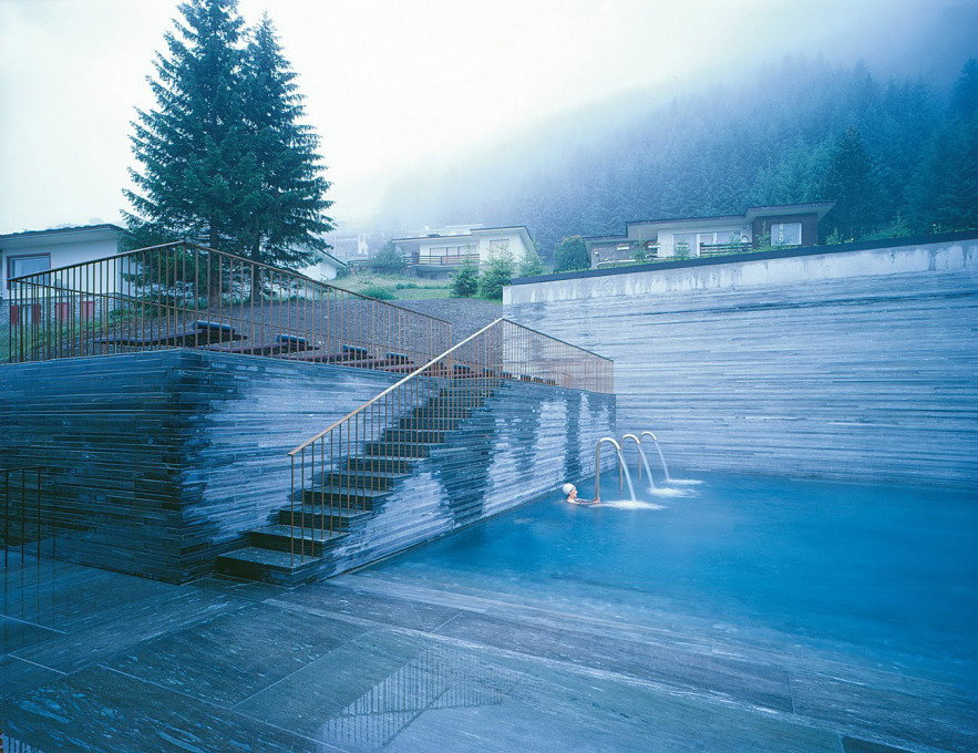 The outdoor pool on a misty morning (Courtesy Hotel Therme Vals)