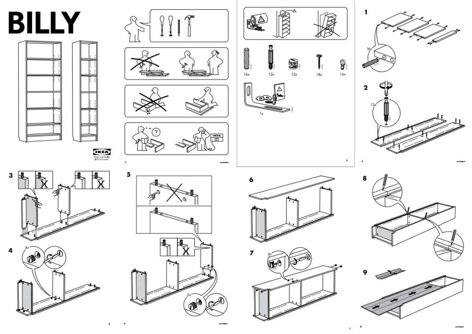 Is there really any DIY aspect to IKEA furniture, or is it simply customisation as a sales ploy? (Image: downloadable Billy shelf instruction manual)