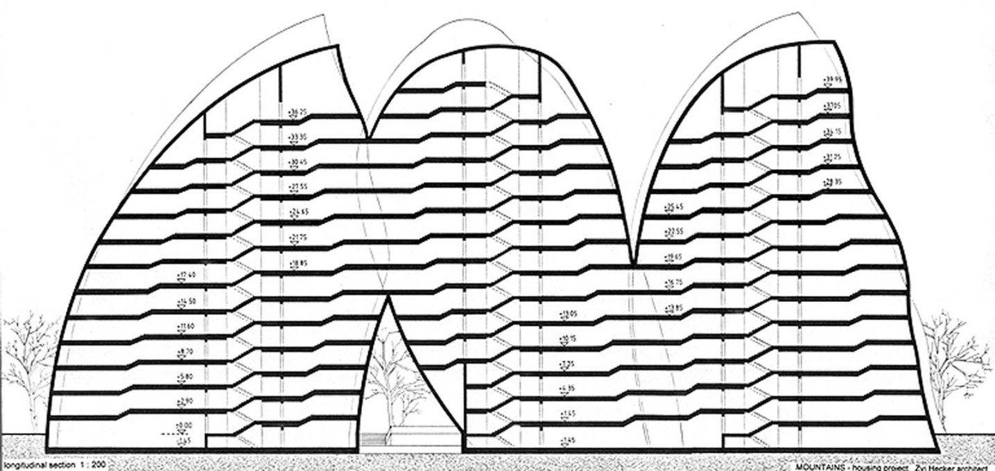 A section view shows the interconnected structure of the protruding forms...