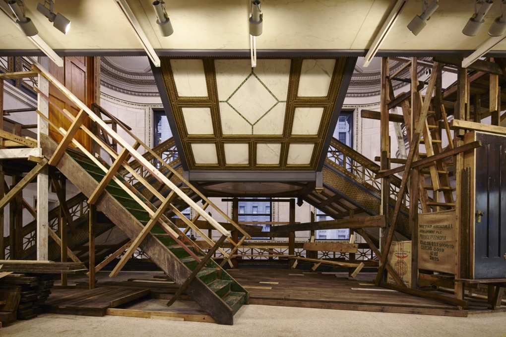 """Makeshift"" installation by Studio Albori. Designed for music performance and constructed from reclaimed timber. (Photo: Tom Harris, courtesy Chicago Architecture Biennial)"