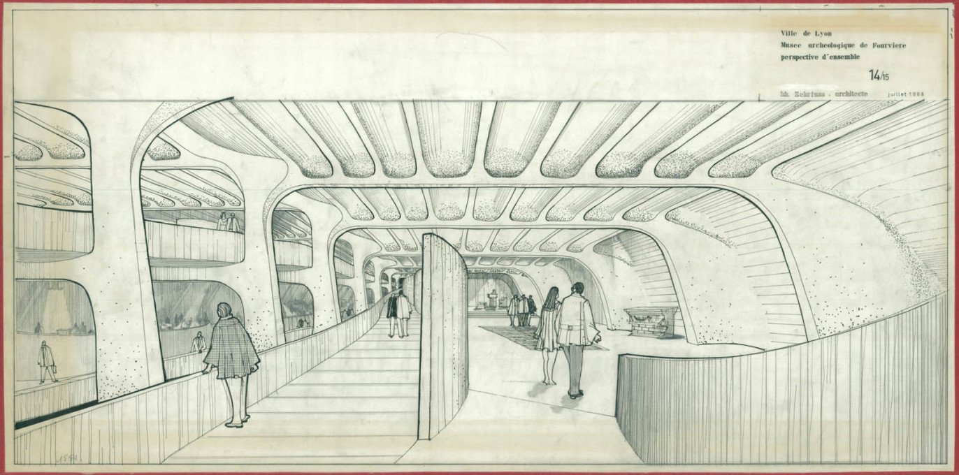The open views through the museum are demonstrated in Zehrfuss' drawings for the building.