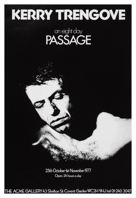 Exhibition poster for the Kerry Trengrove's performance piece 'An Eight Day Passage' in 1977, during which he tunnelled down from the gallery floor into the basement. (Courtesy Acme Studios)