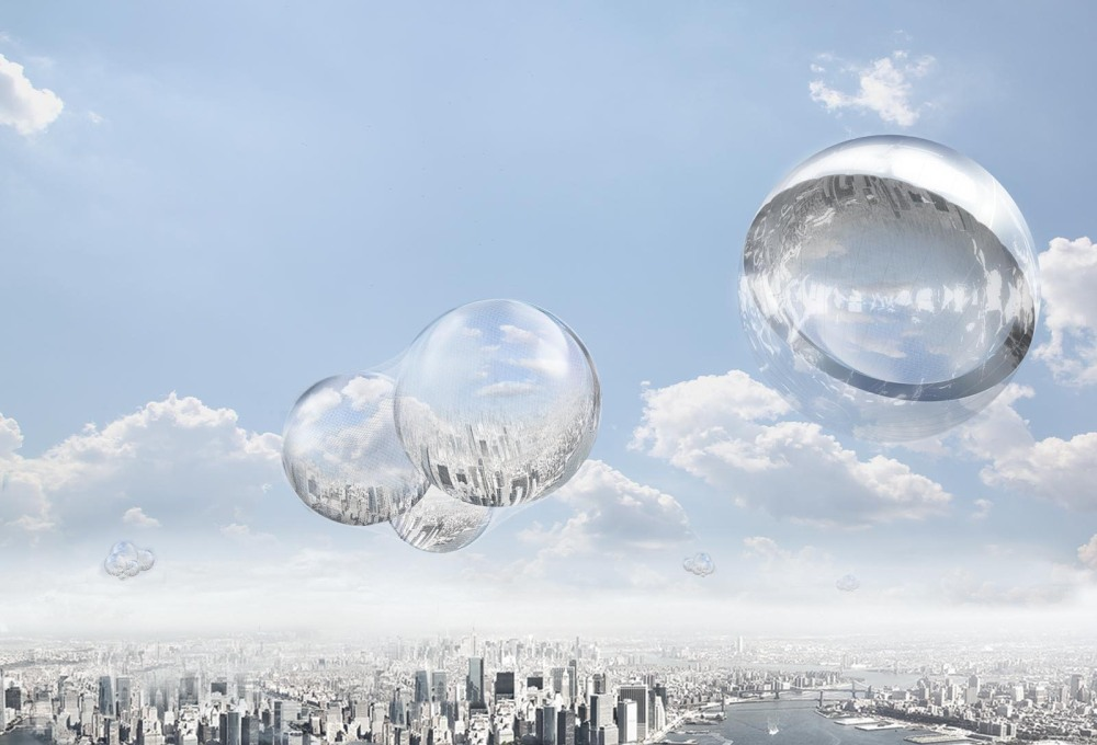 "Visualisation of Saraceno's ""Aerocene"" together with his earlier project in the same series: ""Cloud Cities""."