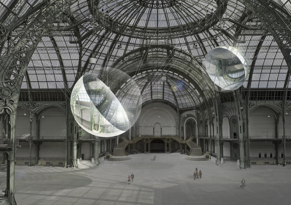 "Visualisation of the ""Aerocene"" installation at the Grand Palais in Paris."