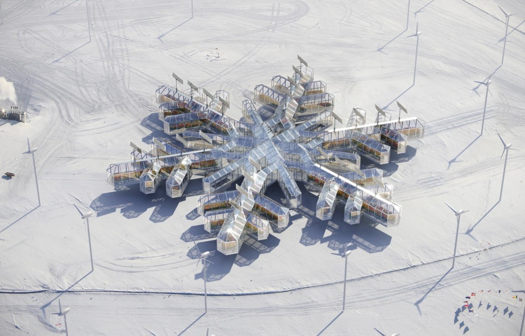 "An Antarctic Imaginary? Alexey Kozyr and Ilya Babak's scheme ""Antarctic Poppy Orangery in Antarctica"", 2014, a solar and wind powered botanical and medical research base, and recreation zone. (Image courtesy the architects)"