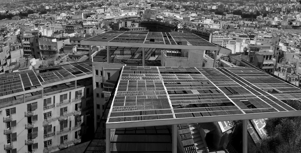 Athens Terrace Works. Disused elements from Athens's infrastructural facilities mounted on the city's roofs, to create new pergola structures and shaded communla spaces.