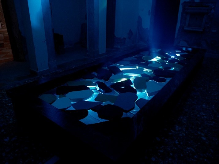 "The Welsh Pavilion: part of Bedwyr Williams' installation ""The Starry Messenger"", this room called ""The Depth"", which takes the viewer on an intense dark journey. (Photo: Bedwyr Williams)"