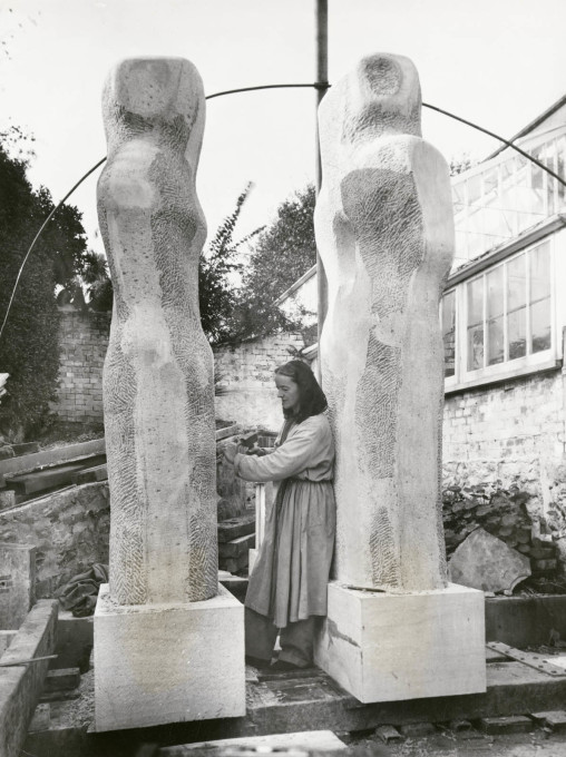 "Barbara Hepworth carving ""Contrapuntal Forms"", Harlow. 25 Oct 1950. (© Historic England)"