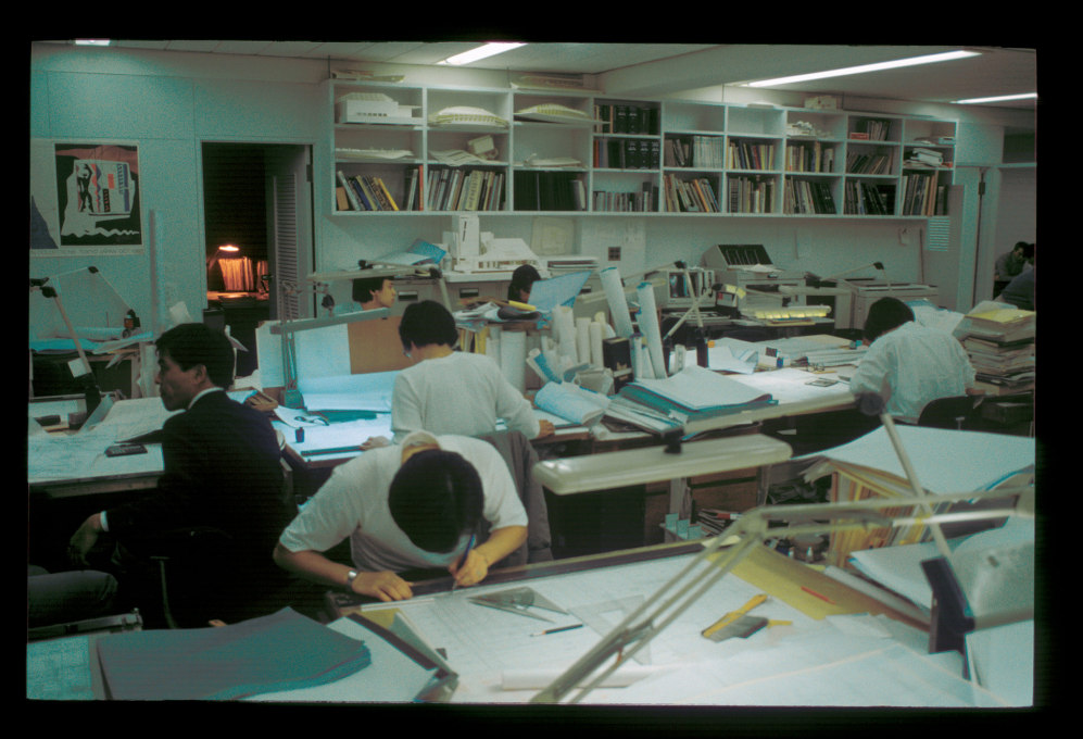 A visit to Arata Isozaki's office, September 1986.