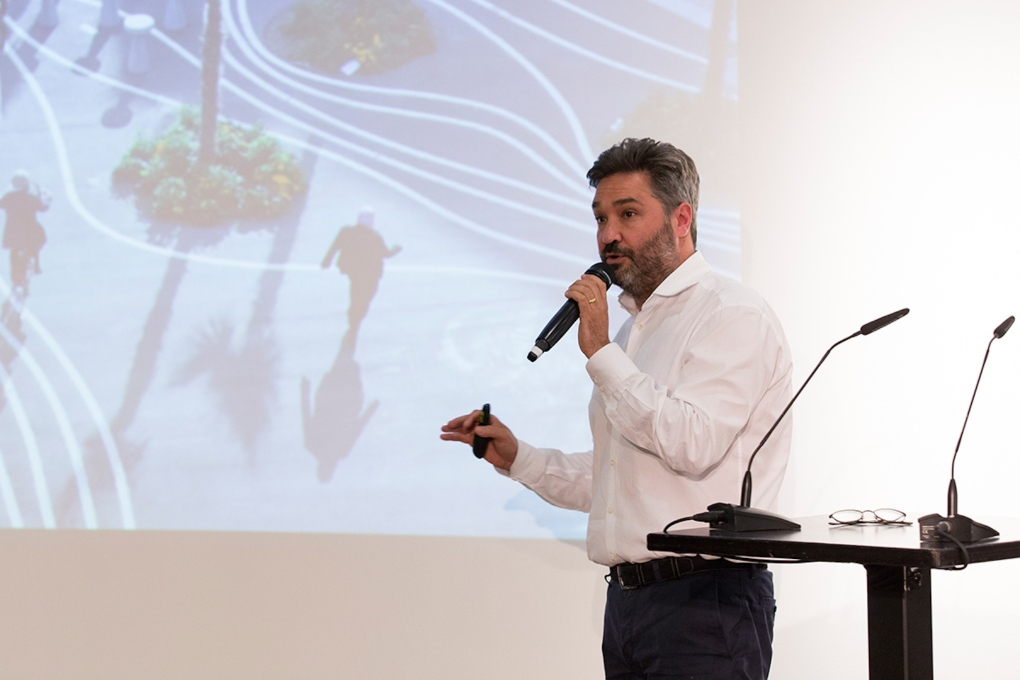 "During a discussion on ""Smart Parks"", Topotek 1's Martin Rein-Cano talked through the Superkilen project in Copenhagen. (Photo: © Berlin Camera)"