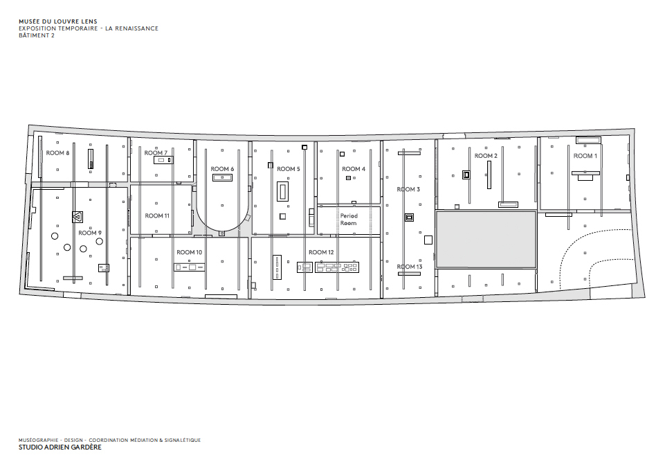 Plan of the Temporary Exhibition gallery, currently showing a display on the European Renaissance. Image: Studio Adrien Gardère