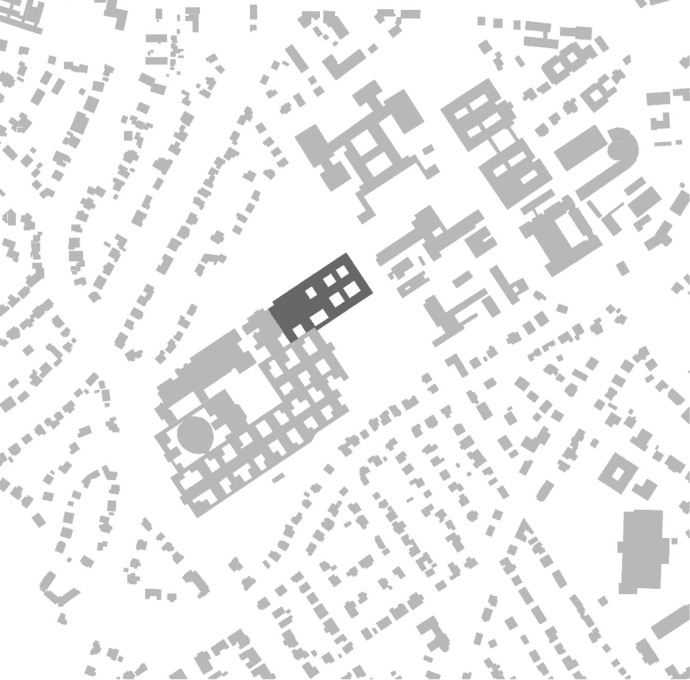 "Site plan of the entire building in 2015 with the latest extension, the ""Wood Bucket"", to the northeast, marked in a darker grey. (Image: Nagler Architects)"