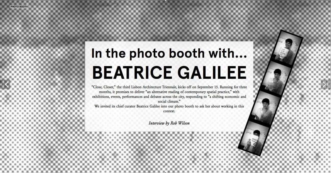 In the Photo Booth with Beatrice Galilee