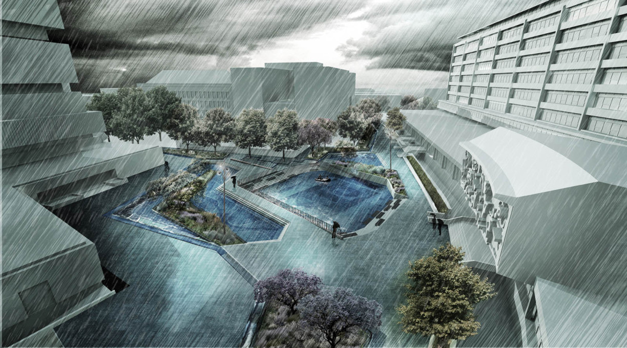 The Water Square envisioned during stormy weather. (Image © De Urbanisten)