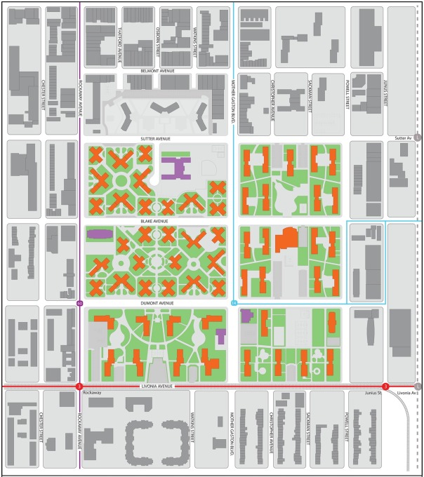 "The existing plan of the Brownsville, showing the classic arnagement of a low-cost ""projects"" area. (Image courtesy Alexander Gorlin Architects)"