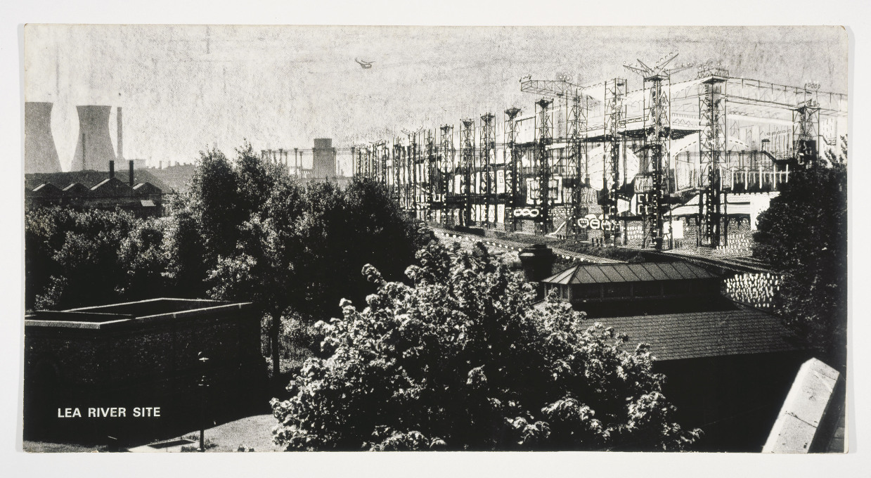Cedric Price: The Fun Palace at Lea River Site, Photomontage 1961. (Image: relationalthought.wordpress.com)