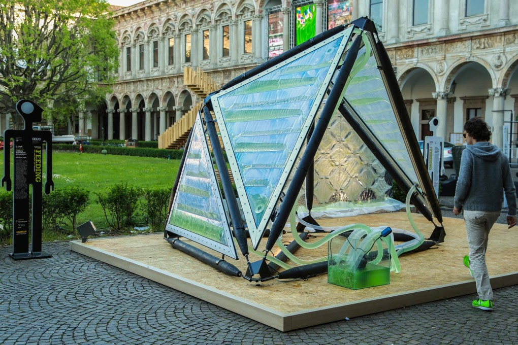 The Urban Algae Canopy, a prototype of the world's first bio-digital canopy integrating micro-algal cultures and real time digital cultivation protocols on a unique architectural system; prototype by ecoLogicStudio & Carlo Ratti Associati.&am