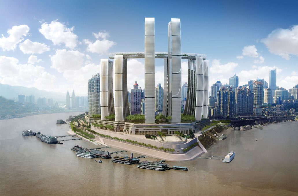 "CGI of the Chongqing Chaotianmen, consists of six towers on a five-storey base, with a quarter-mile long ""conservatory"" at 60 storey level, designed to hold public activities."