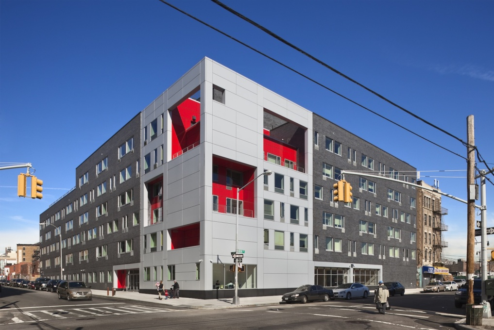 The Brook by Alexander Gorlin Architects for Common Ground Communities in the Bronx, New York City, providing permanent supportive housing units for formerly homeless and people living with HIV/AIDS. (Photo courtesy Alexander Gorlin Architects)
