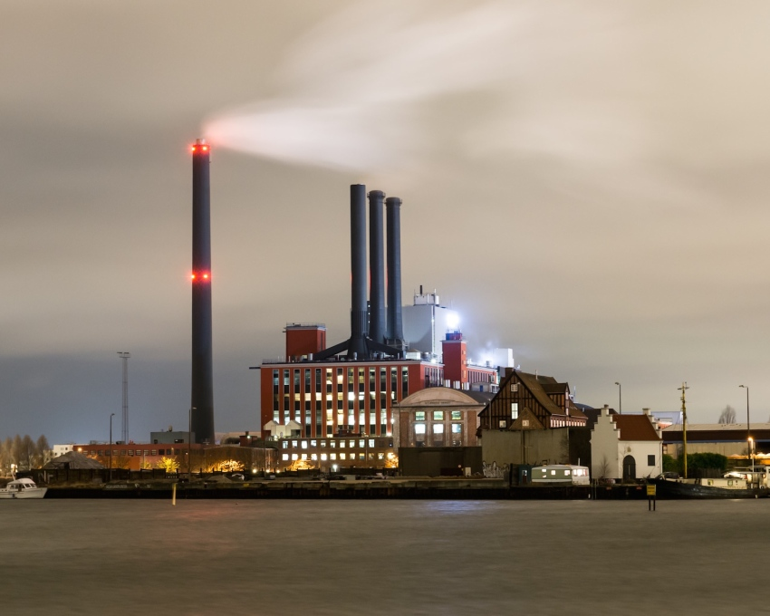 "The ""the statuesque"" H.C. Ørstedsværket power station, built in 1920, at dusk."