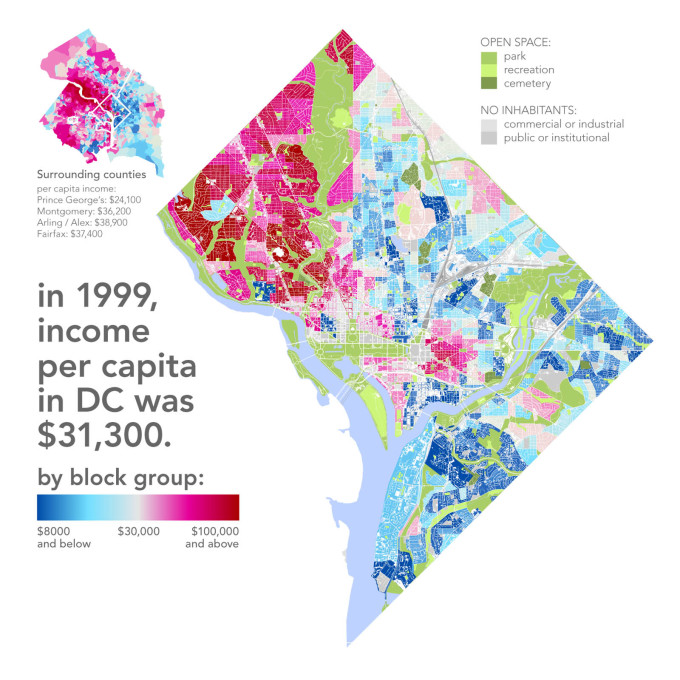"""While at a glance race, income, education, and crime all seem to overlap, it's certainly not true that all black neighbourhoods are poor and plagued by crimed and all white areas are rich and crime-free..."" (Map: Bill Rankin)&am"