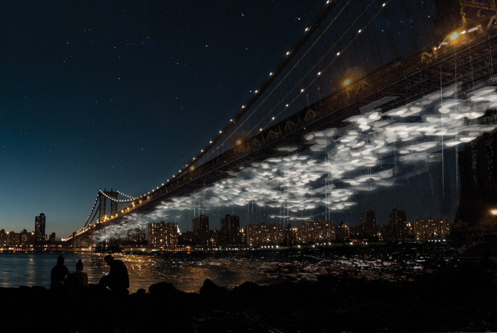 """Constellation Park"", a suspended public memorial beneath the Manhattan Bridge in New York, powered by decomposing bodies. (LATENT Productions + DeathLAB, 2013)"