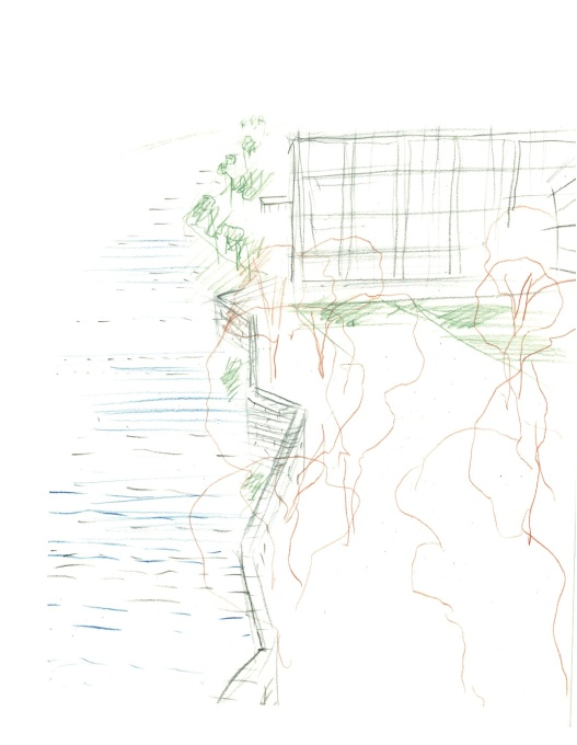 Landscape scheme sketch by Marie-José van Hee, for a current project by Tony Fretton Architects at Deinze Town Hall in Belgium: a building designed as a highly legible public space at the edge of a river. (Drawing: Marie-José van Hee)