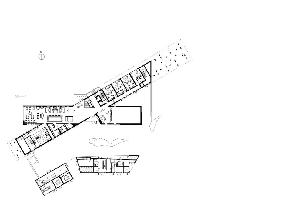 First floor plan, showing some of the public rooms, including the dining room at left and the gallery to the right. (Graphic: Saunders Architecture, courtesy Shorefast Foundation.)