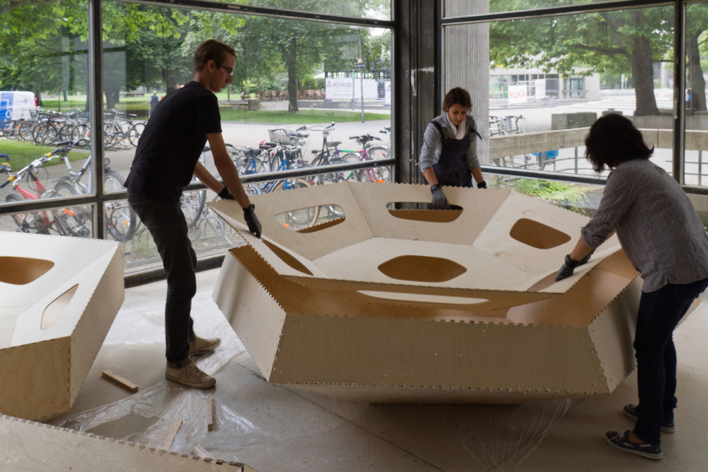 Cassette assembly, ICD/ITKE Research Pavilion, 2011.