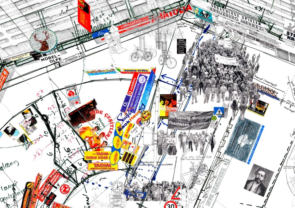 Berlin's Kottbuser Tor, as psychogeographically mapped by Larissa Fassler in 2008. (Kotti, 2008. All images © Larissa Fassler)
