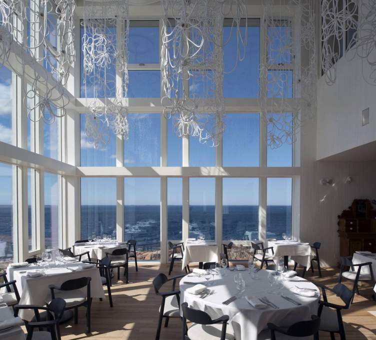 Fogo Island Inn dining room, view north-west out to the North Atlantic. (Photo: Alex Fradkin)