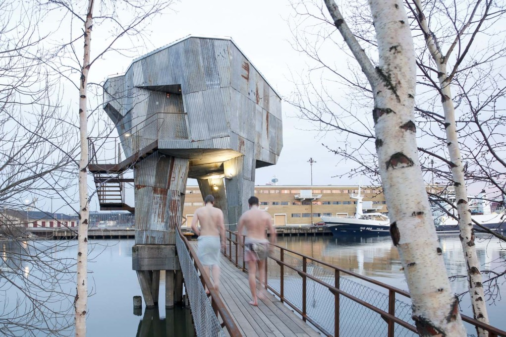 On spidery legs: Gothenburg's new public sauna by Berlin-based architects Raumlabor. (All photos and drawings: Raumlaborberlin)