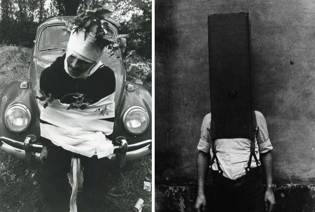 Original Global Tools member Franco Raggi in two Body Group Performances. Left: 1974 (Photo courtesy A. Natalini Archives); Right: 1974 (Photo courtesy F. Raggi Archive and Casabella)