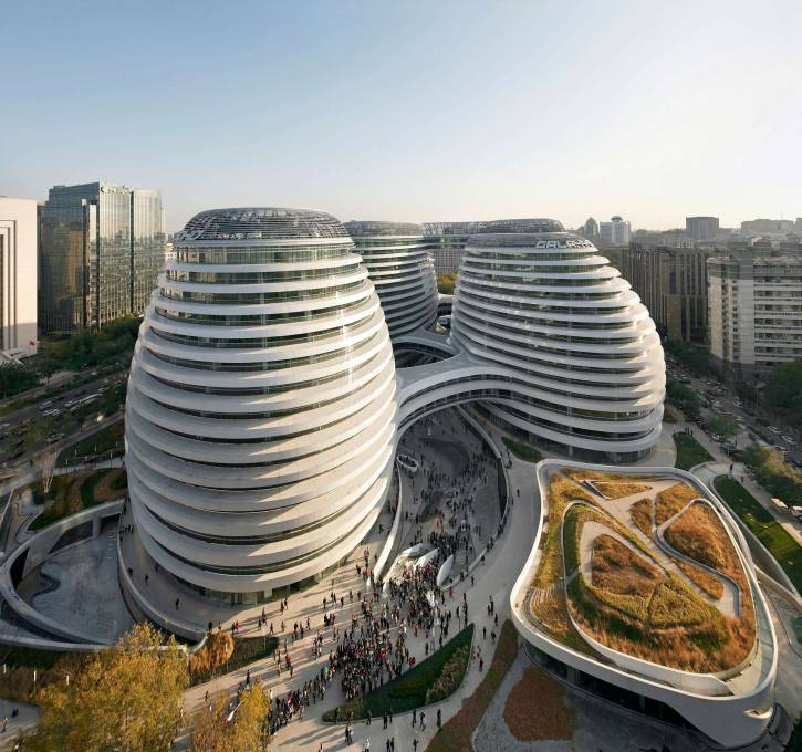 Galaxy Soho consists of four office blocks/blobs... (Photo: Hufton + Crow)