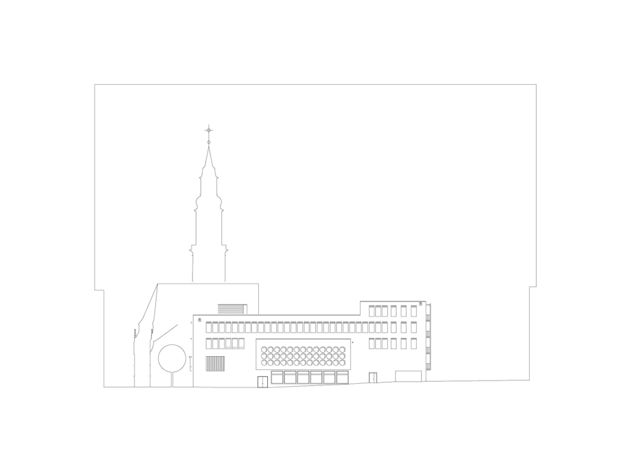 North-west elevation. (Drawing: Lederer Ragnarsdóttir Oei Architects)