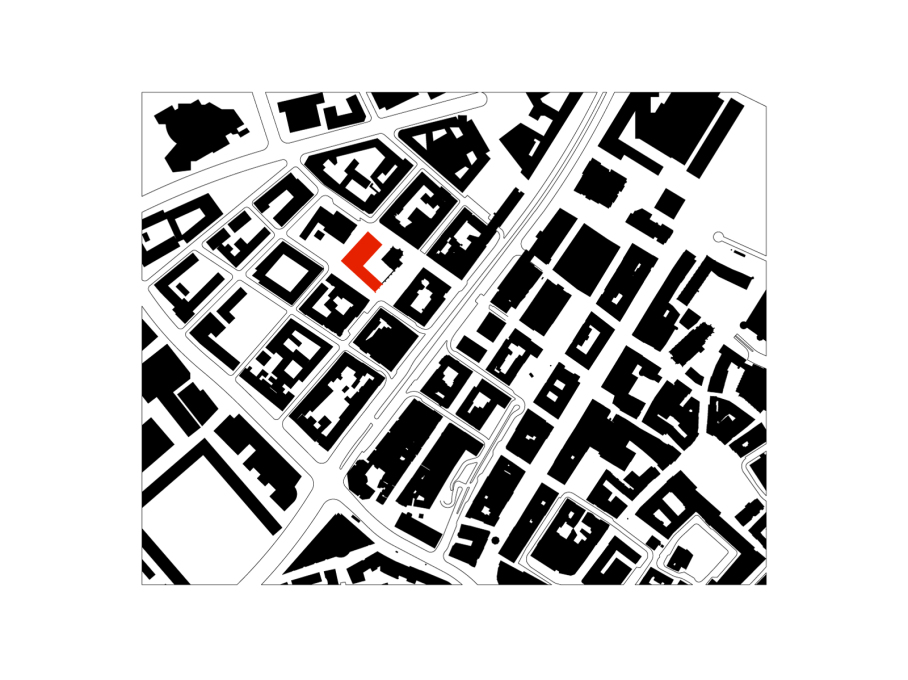 Site plan of building (in red) and surrounding Hospitalhofviertal district. (Drawing: Lederer Ragnarsdóttir Oei Architects)