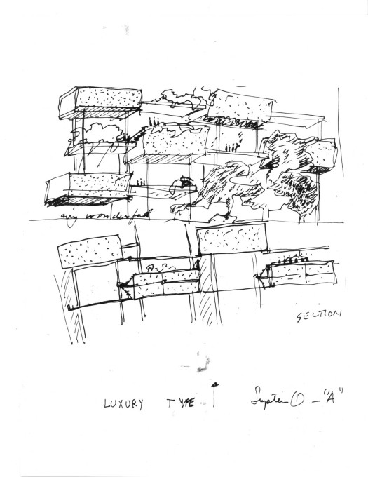 Thesis sketch by Moshe Safdie for a housing scheme – that would lead to Habitat.