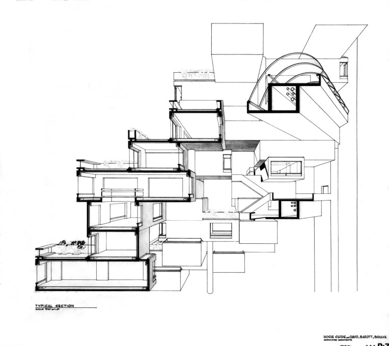 Section through Habitat 67 housing units.